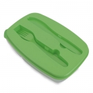 FOOD PLASTIC BOX WITH KNIFE AND FORK