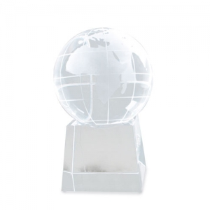 WORLD SHAPED GLASS TROPHY