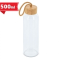 Glass bottle with bamboo lid