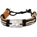 NACRE/LEATHER BRACELET