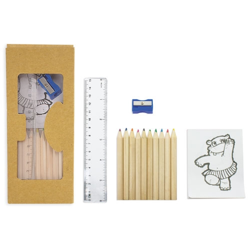 10 COLOURING PENCILS SETNTBOX + DRAWING UTENSILS