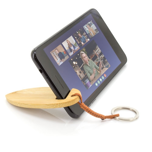 BAMBOO KEY RING WITH MOBILE HOLDER
