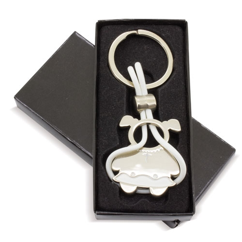 GIRL COMMUNION SHAPED METAL KEY-RING