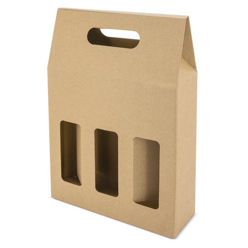 OPEN CARTON BOX 3 BOTTLES