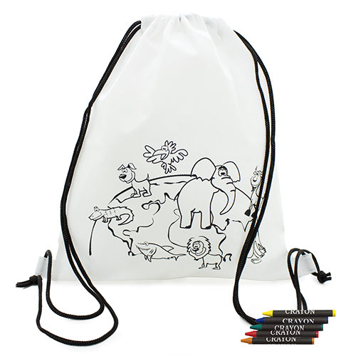 Backpack with wax crayons