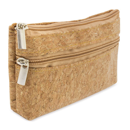 DOUBLE ZIP CORK PURSE NATUR